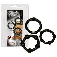 Légy kemény Péniszgyűrű szett - fekete