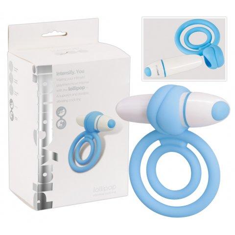PlayCandi Lollipop - vibrációs pénisz- és heregyűrű (kék)