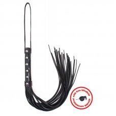 Angel Touch lakkozott bőr korbács - Fekete