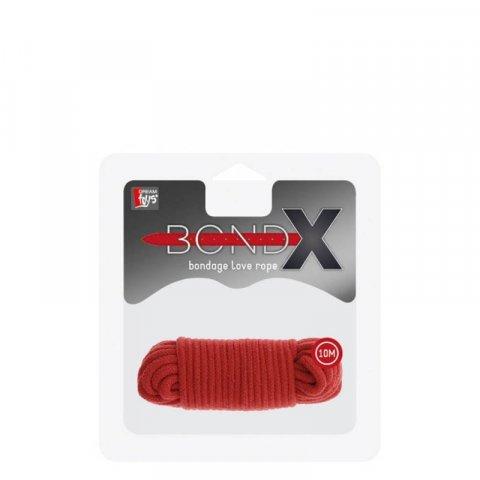 BondX Bondage kötél (10m) - Piros