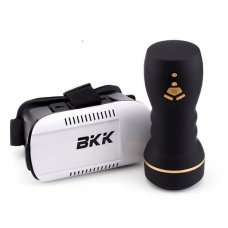 BKK - VR maszturbátor szemüveggel (fekete-natúr)