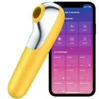 Satisfyer Dual Love - okos, akkus, vízálló hüvelyi és csikló vibrátor (sárga)