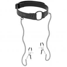 Fetish Submissive nyakörv mellbimbó csipeszekkel - fekete